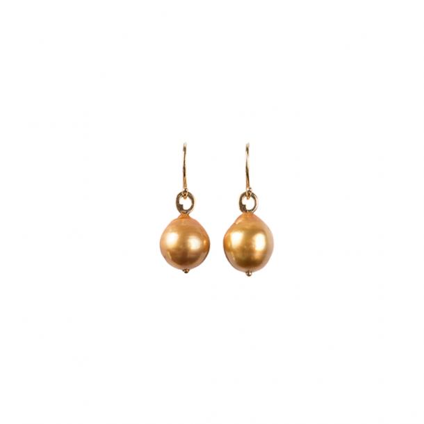 LIZA CASTRO Deep Golden South Sea Pearl Hook Earrings