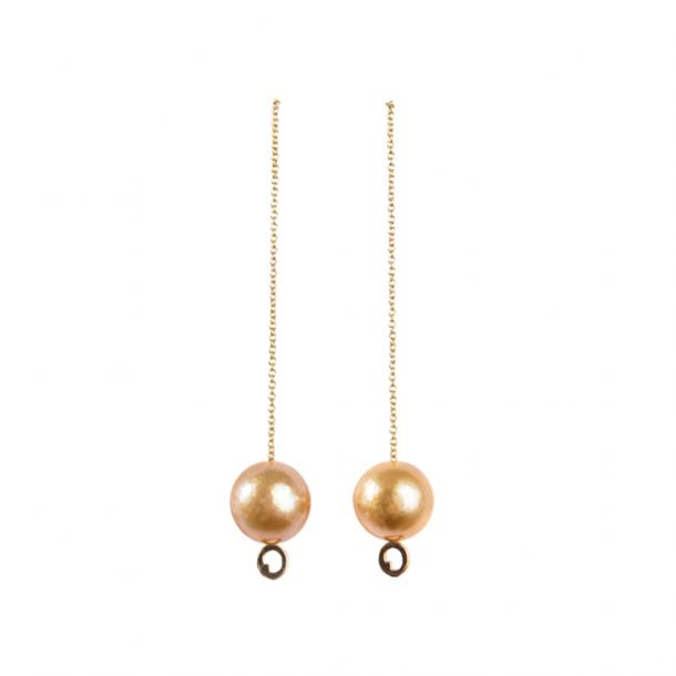 LIZA CASTRO Golden South Sea Pearl Chain Earrings