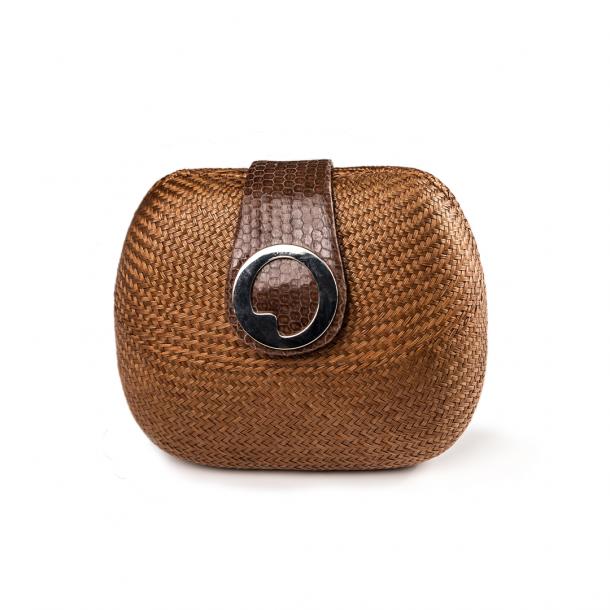 LIZA CASTRO Oval Light Brown Buntal Clutch